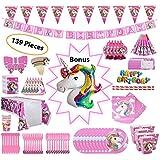 ユニコーンパーティー用品、1ユニコーン風船の女の子のための25パックの誕生日バナーパーティーの装飾