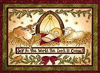 クリスマスカード 英文・英語メッセージ 専用封筒付 (イエス・キリスト誕生&ジョイ・トゥ・ザ・ワールド ライトイエロー(43))
