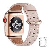 WFEAGL コンパチブル Apple Watch バンド,は本革レザーを使い、iWatch Series4/3/2/1、Sport、Edition向けのバンド交換ストラップです コンパチブル アップルウォッチ バンド(38mm 40mm, ピンクの砂 バンド+ゴールド バックル)