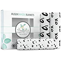 Muslin Cotton Baby Swaddle Blankets 3 Pack 47x47 by Fawn Hill Co - Unisex Black and White Design for Boys or Girls [並行輸入品]