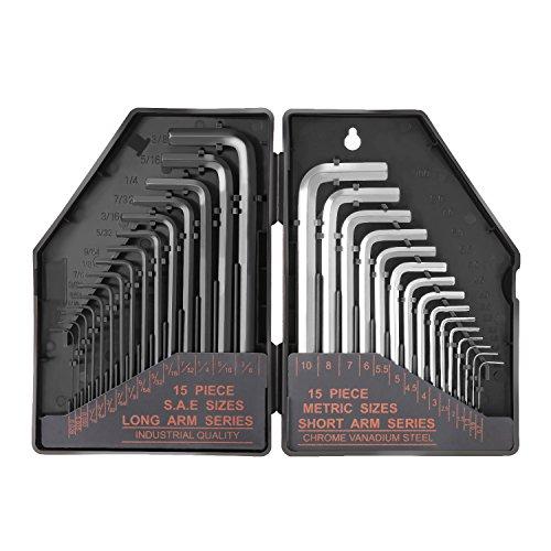 Tacklife HHW1A 六角棒レンチセット 2*15本組 インチ(ブラック)&メートル(シルバー) ロングアーム(0.028-3/8)&ショートアーム(1.27-10mm) 専用収納ケース付 高精度 精密機器、自転車、バイクなど対応