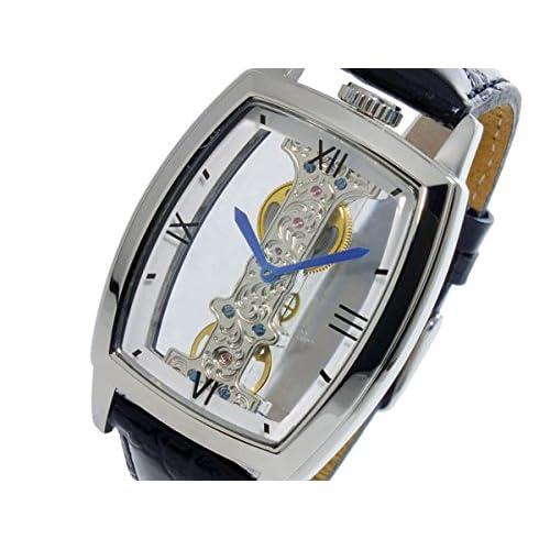 [アルカフトゥーラ]ARCA FUTURA メンズ 腕時計 Mechanical Skeleton(メカニカル スケルトン ブリッジ) 手巻き スクエア S13386BK(ブラック)