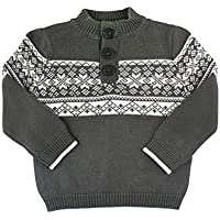 RuggedButts Baby/Toddler Boys Charcoal Fair Isle Pullover Sweater