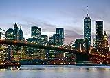 絵画風 壁紙ポスター (はがせるシール式) 夕暮れのブルックリン橋 ハドソン川 ニューヨーク 夜景 AT キャラクロ NYK-105A2 (A2版 594mm×420mm) 建築用壁紙+耐候性塗料
