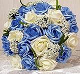 ウェディング ブーケ バラ 造花 ブライダル 結婚式 花束 フラワー かわいい 髪飾り セット 選べる カラー ピンク ブルー パープル レッド (ホワイト×ブルー)