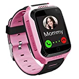 GPS Waterproof Kids Smart Watch for Students, Girls Boys Touch Screen Smartwatch with GPS/LBS Tracker Voice Chat One-Key SOS Help Anti-Lost Calling Phone Watches (S16 Pink)