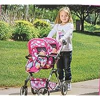 Lissi Doll ダブルベビーカー 18インチまでの人形2体に対応 色: ピンク水玉 箱入り