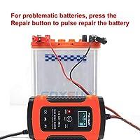 FOXSUR 12Vオートバイおよび自動車自動UPSインテリジェントLCDディスプレイバッテリー充電器EFB AGM GELパルス修理バッテリー充電器(色:赤)-2