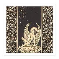 Lechter Seventh Ring Angel Ornate Book Illustration Square Wooden Framed Wall Art Print Picture 16X16 Inch 本図木材壁画像