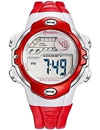 キッズ腕時計 子供用 女の子 男の子 デジタルウォッチ スポーツ用 夜光 防水 アラーム機能付き ストップウォッチ 赤