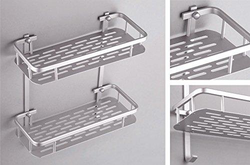 浴室用ラック2段スペースアルミ 小物整理 収納バスケット お風呂ホルダー しっかり固定