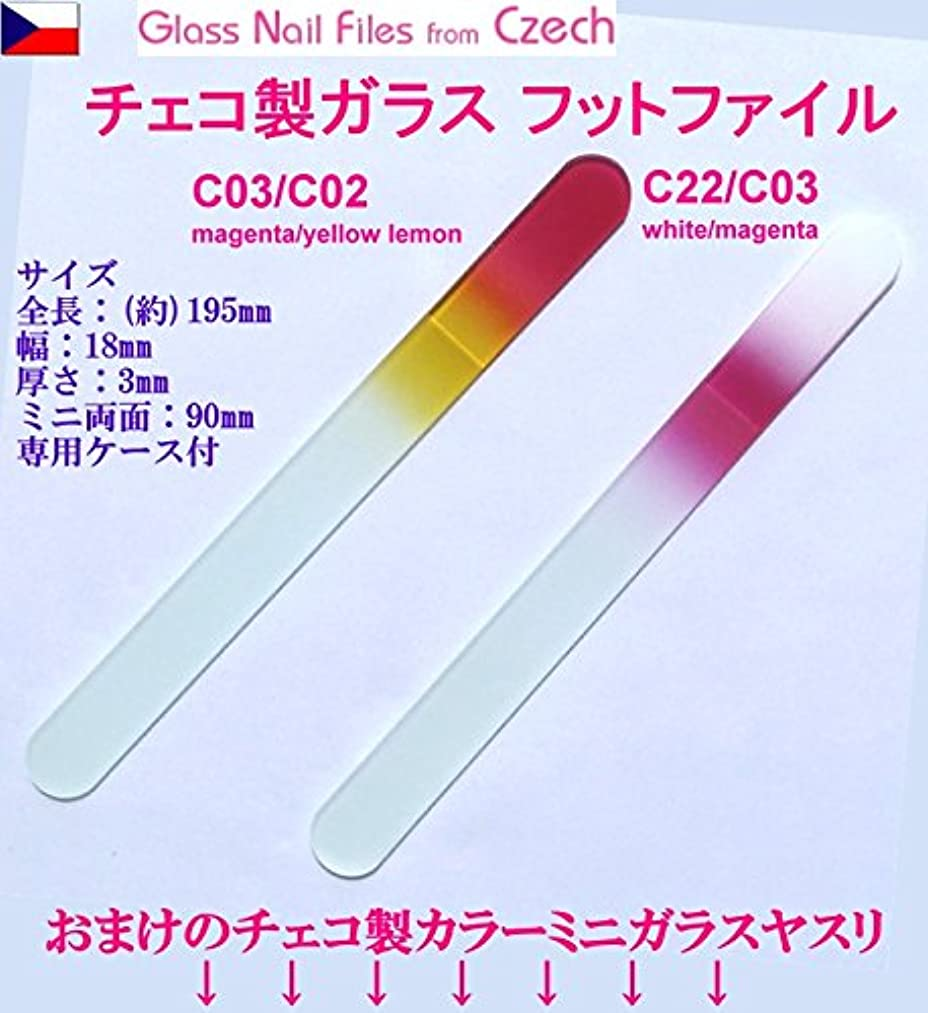 先祖呼吸する成功したBISON チェコ製ガラス フットケアー&足の爪ヤスリ 両面 195mm 大&ミニ 2Pセット 介護用 C22/C03 white/magenta