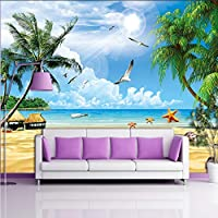 Xbwy カスタム3D壁画壁紙用壁ホリデービーチ海景Plam木写真不織布壁カバー用リビングルームテレビソファ背景-350X250Cm