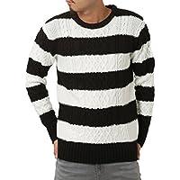 JIGGYS SHOP (ジギーズショップ) ニット セーター メンズ クルーネック ケーブル編み 厚手 長袖 防寒 ボーダー アメカジ
