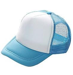 Plus Nao(プラスナオ) 帽子 キャップ メッシュキャップ CAP 野球帽 無地 シンプル 子供 キッズ ジュニア 男の子 男児 女の子 女児 日焼け防 53-56cm ライトブルー×ホワイト