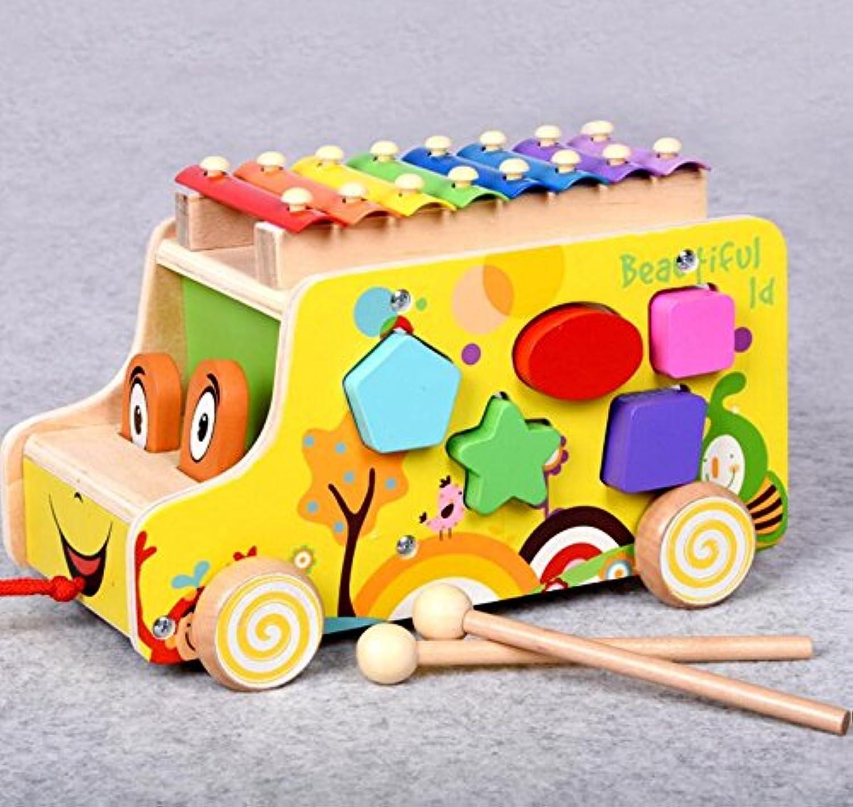 HuaQingPiJu-JP 子供のための車の教育形状の色の認識のおもちゃを並べ替える多機能の木の形状ソーター