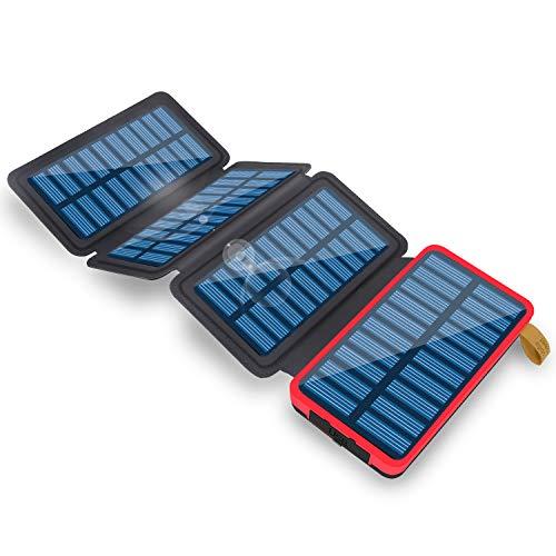 ソーラーチャージャー モバイルバッテリー 24000mAh 大容量 折り畳み式 2USB出力ポート 4枚ソーラーパネル 急速充電 高輝度LEDライト付き 太陽光充電 Android/iPhone/iPad など等に対応 登山/地震/災害/旅行/出張/アウトドア活動などの必携品