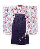 卒業式 袴 小町キッズのジュニア着物「水色&ピンク、矢絣に花」と刺繍袴82cm「紫」JFK15-21ysm