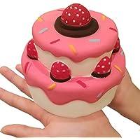 Airyus スクイーズ ジャンボ ストロベリー ケーキ 甘い香り ふわふわ 低反発 バニラ & イチゴ 大きいサイズ (イチゴクリーム)