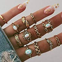 Victray Boho Ring Set Gold Rhinestone Rings Stylish Fashion Bracelets Hand Accessories Jewelry for Women and Girls(12 PCS)