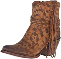 Lucchese Classics Women 's robyn-tan Printed SDE Shorty with Fringe Ankle Bootie カラー: ブラウン