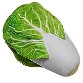 食材 肉 野菜 魚 いろいろ クッション 座布団 抱き枕 ぬいぐるみ + バッジのセット (白菜)