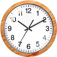 NUOVO 掛け時計 非電波 アナログ クロック サイレント ウォールクロック 木の色 数字 壁掛け時計 直径約26cm 連続秒針 プラスチック枠「木色塗装」 木目調
