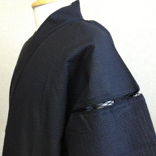 糸・縫製・染色全て日本製 しじら織り甚平(L,無地黒(5001BK))