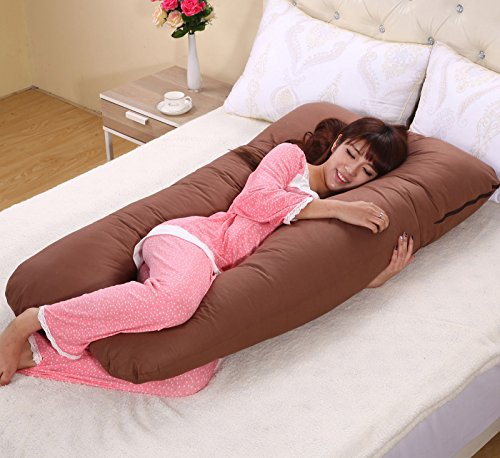 Meiz 両面 多機能 妊婦抱き枕 妊婦枕 横寝 哺乳 U型妊婦枕 (ブラウン)