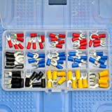Electronics-Salon 15 Types Spade Fork Crimp Wire Terminal Connector Assortment Kit, Red 19A, Blue 27A, Black 37A, Yellow 48A,
