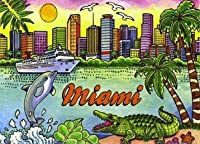 Miami Florida Skyline Fridge Collector's Souvenir Magnet 2.5 X 3.5 by World By Shotglass