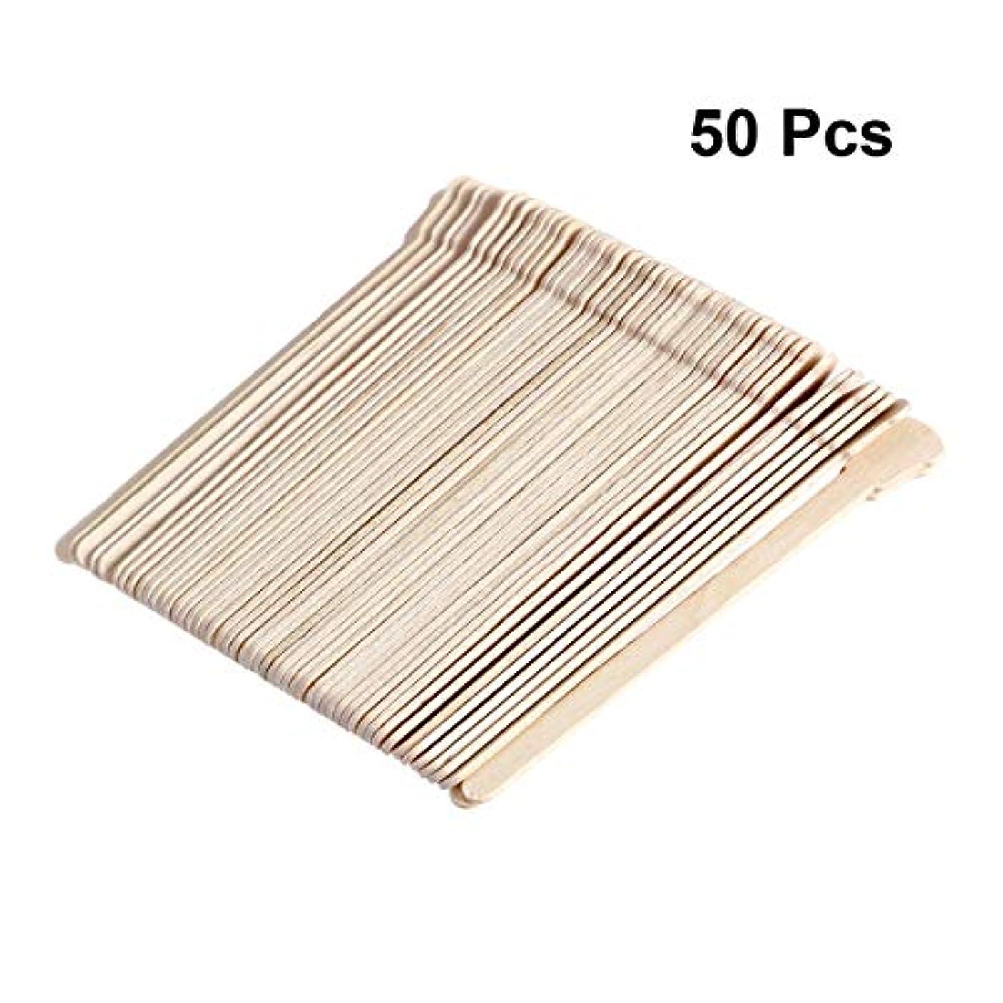 タイル電化する聖歌SUPVOX 50本木製ワックススティックフェイス眉毛ワックスへら脱毛用(オリジナル木製カラー)