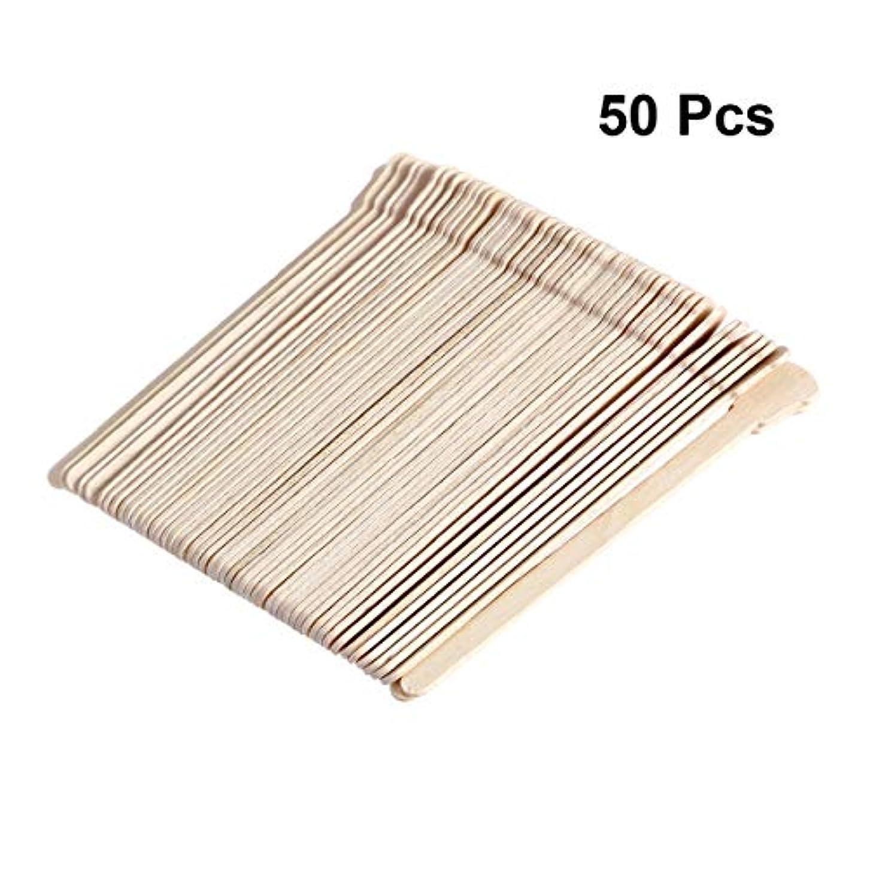 冗長またね味付けSUPVOX 50本木製ワックススティックフェイス眉毛ワックスへら脱毛用(オリジナル木製カラー)
