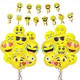 誕生日飾り付け 面白い絵文字 黄色い HAPPY BIRTHDAYバナー ガーランド 風船 男女通用 誕生日会 文化祭 イベント飾り 部屋装飾
