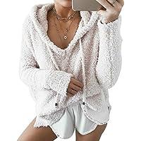 Cimeiee Women's Lightweight Plush Slouchy Drape Pullover Hoodies Long Sleeve Sweater Fleece Jacket Coats