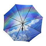 バララ(La Rose) 折り畳み傘 軽量 レディース 手開き 日傘 晴雨兼用 折りたたみ かわいい 虹 空 スカイ ブルー 絵 梅雨対策 頑丈な8本骨 三つ折り 遮光 耐風 撥水 丈夫 子供 携帯用 収納ポーチ付き
