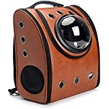 WowowMeow Cat Travel Bubble Backpack Pet Leather Carrier Bag for Cats Puppies (Brown)