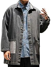 Keaac メンズプラスサイズビンテージボタンフロントは、ポケット付きロングジャケットコート洗浄