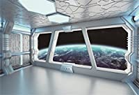 aofoto 7 x 5ft宇宙船Interior withウィンドウビューon Planet Earth Backdrop Universe Exploration SF Spacecraft写真背景Space Station Photo Shoot Studioプロップビニール壁紙