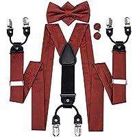 Hi-Tie 6 Clips Suspenders Bow Tie Pocket Square and Cufflinks Set Y Shape Adjustable Braces