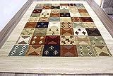 おしゃれ ギャッベラグ カーペット ギャベ 絨毯 厚手 約3畳 200×250cm LORI-5504/ベージュ色
