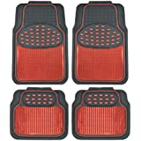 BDK Metallic Rubber Floor Mats for Car SUV & Truck - Semi Trimmable, 2 Tone Color Heavy Duty Protection(Red/Black)