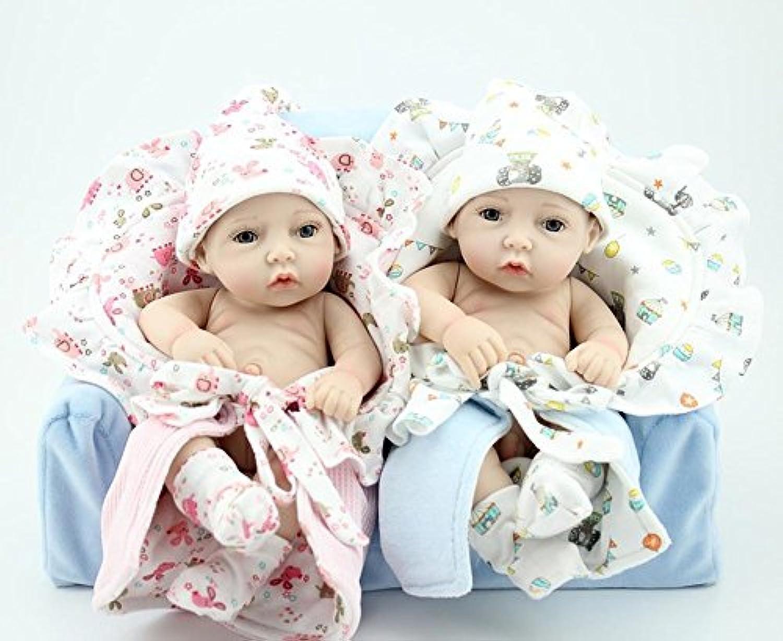 Dollshow Exclusive 11インチBoy and Girl Realistic Reborn Bathing Baby Dolls Set Fullビニール防水Twins Toys