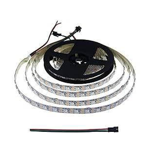 ALITOVE LEDテープ WS2812B アドレス指定可能 LEDテープライト 5m300LED 5050RGB SMD ピクセル ドリームカラー 非防水 ホワイトPCB DC5Ⅴ