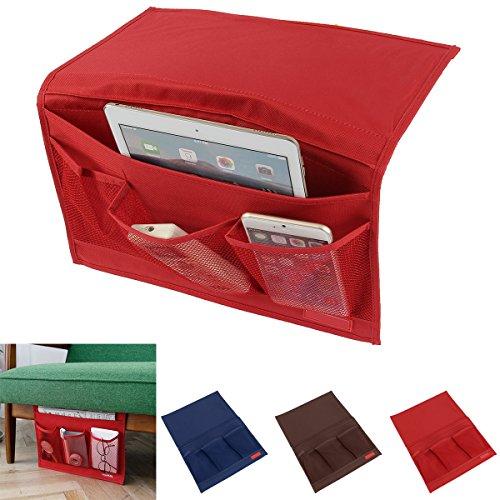 SOONHUA ベッド サイド ポケット ソファー こたつ テーブル掛け袋 テーブル小物 整理 収納ポケット インテリア装飾品 便利 多機能 三色 (レッド)