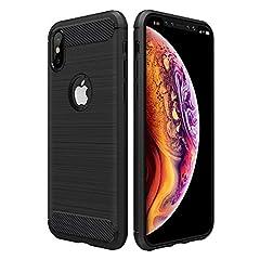iPhone Xs iPhone X ケース 5.8インチ Simpeak 炭素繊維保護カバー iphone Xs iphone X にぴったりフィット 高品質TPU 薄型 弾力性付き(ブラック)
