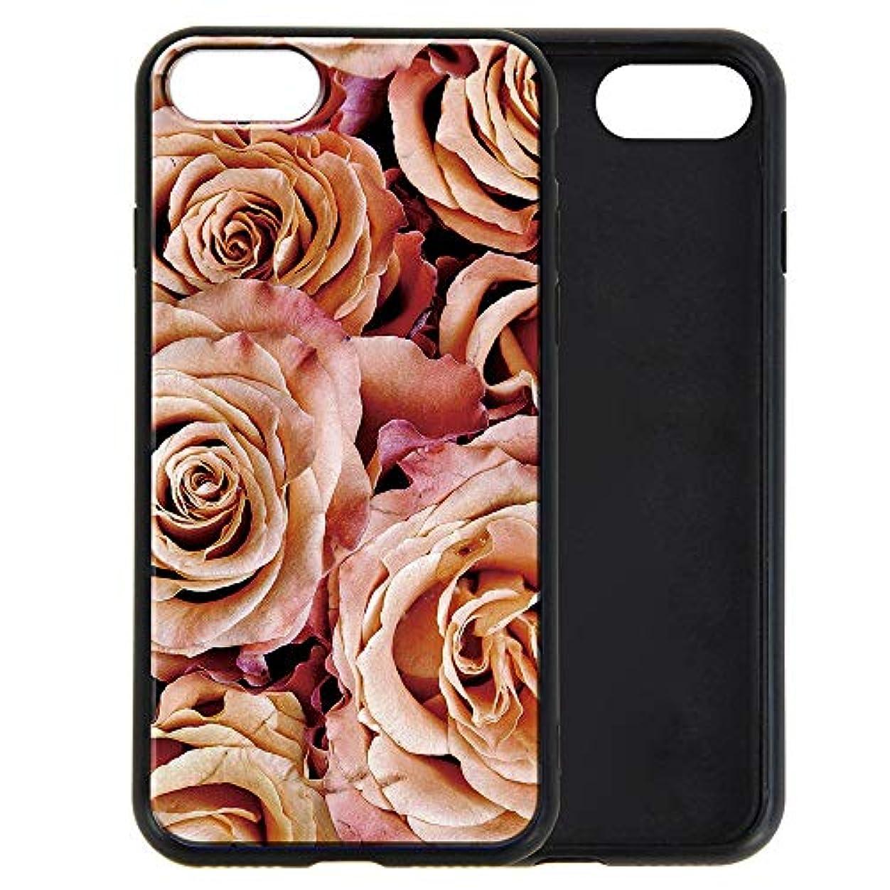 追う似ている想像するiPhone8 iPhone7 ケース [デザイン:6.ピンクローズ/ブラックフレーム] 花 パータン 背面強化ガラス ハイブリット スマホカバー 9H TPU 耐衝撃 アイフォン8 iPhone 8 アイフォン7 iPhone 7