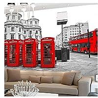 London Red Bus City View - モダンな不織布壁紙カスタム写真の壁紙レストラン廊下壁画@ 250cm(W)x175cm(H)