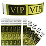 """Tyvek Wristbands - Goldistock VIP Deluxe Metallic Gold 200 Count - ¾"""" Arm Bands - Paper-Like Party Armbands - Heavier Tyvek W"""