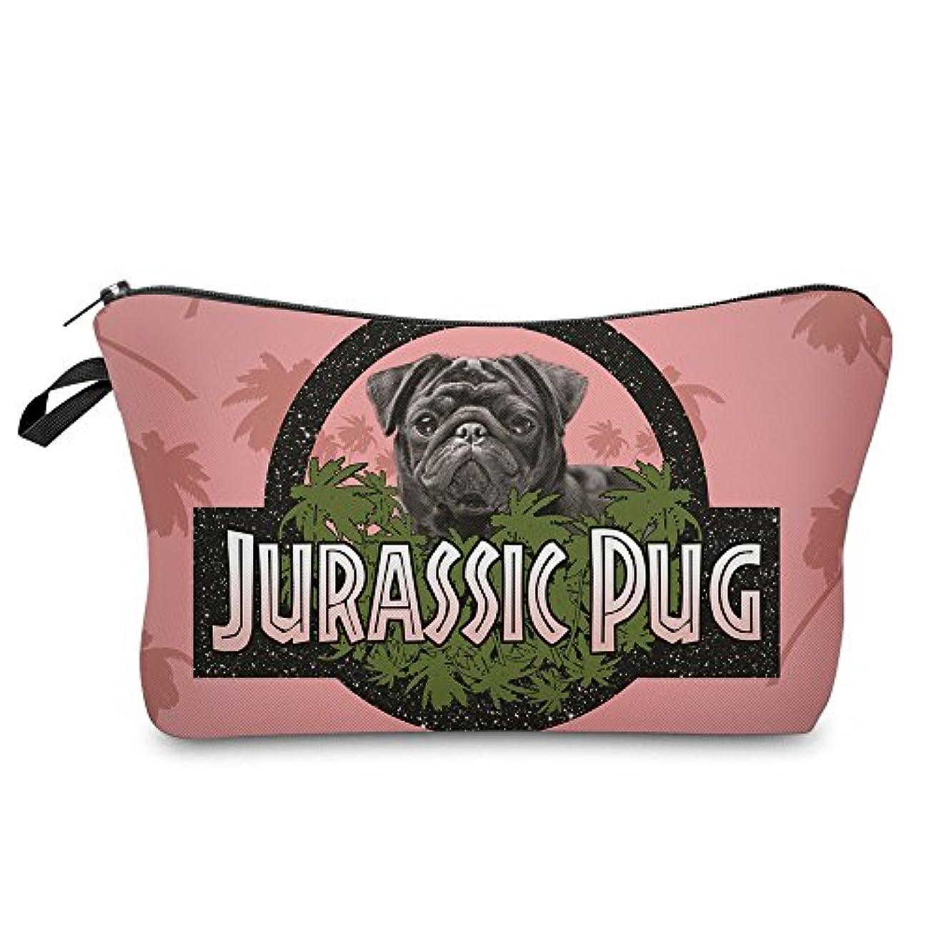 上昇インテリアのホスト(560kick) ジュラシック パグ 犬 ピンク メイク ポーチ